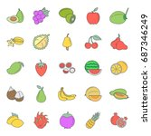 flat fruits icon set. vector... | Shutterstock .eps vector #687346249