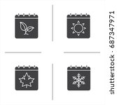 seasons calendar glyph icons... | Shutterstock .eps vector #687347971