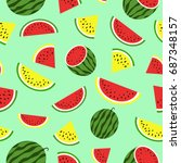 seamless pattern with red and... | Shutterstock .eps vector #687348157