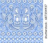 vector floral seamless pattern... | Shutterstock .eps vector #687354937