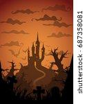 colored vector halloween... | Shutterstock .eps vector #687358081