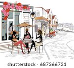 fashion people in the street... | Shutterstock .eps vector #687366721
