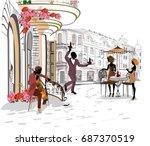 fashion girls in the street... | Shutterstock .eps vector #687370519