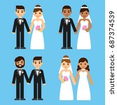 cute cartoon diverse wedding... | Shutterstock .eps vector #687374539
