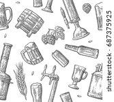 seamless pattern beer tap ...   Shutterstock .eps vector #687375925