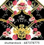 Stock photo baroque flower pattern 687378775
