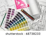 architecture plan draw  ... | Shutterstock . vector #68738233