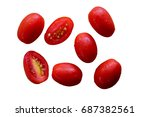 fresh red cherry tomato on... | Shutterstock . vector #687382561
