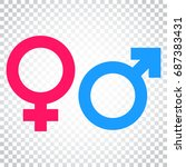 gender sign vector icon. men... | Shutterstock .eps vector #687383431