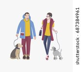young guy and girl walking with ... | Shutterstock .eps vector #687384961