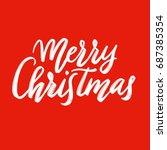 merry christmas calligraphy ... | Shutterstock . vector #687385354