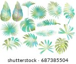 set of tropical leaves isolated ... | Shutterstock . vector #687385504