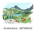remarkable georgian landscape... | Shutterstock .eps vector #687386431