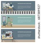 modern interior banners set.... | Shutterstock .eps vector #687389527