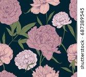 beautiful detailed peonies... | Shutterstock .eps vector #687389545