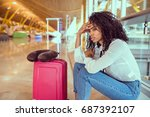 woman sad and unhappy at the... | Shutterstock . vector #687392107
