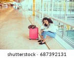 woman sad and unhappy at the... | Shutterstock . vector #687392131