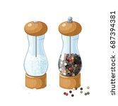 pair transparent glass mill... | Shutterstock .eps vector #687394381