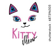 Kittty Face On White Backgroun...