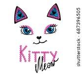 Kittty Face On White Backgroun...