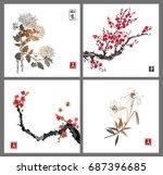 sakura blossom  chrysanthemum... | Shutterstock .eps vector #687396685