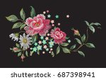 embroidery fashion floral... | Shutterstock .eps vector #687398941