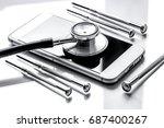 concept repair digital gadgets... | Shutterstock . vector #687400267