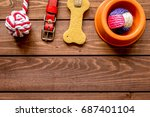 Stock photo concept pet care and training on wooden background top view 687401104