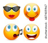 smiley with blue eyes emoticon... | Shutterstock .eps vector #687405967