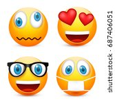 smiley with blue eyes emoticon... | Shutterstock .eps vector #687406051