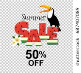 summer sale poster with toucan | Shutterstock . vector #687407089