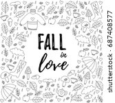 autumn fall doodle icons black...   Shutterstock .eps vector #687408577