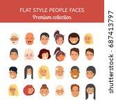 people faces vector set. flat...   Shutterstock .eps vector #687413797