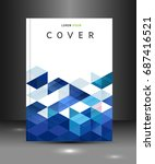 cover template with blue... | Shutterstock .eps vector #687416521