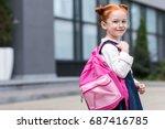 cute little redhead schoolgirl... | Shutterstock . vector #687416785
