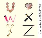 vector cosmetics alphabet | Shutterstock .eps vector #687417337