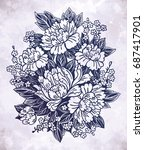 floral highly detailed hand... | Shutterstock .eps vector #687417901