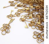 Bunch Of Elegant Gold Keys. 3d...