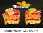 set of traditional mexican food ... | Shutterstock .eps vector #687422671