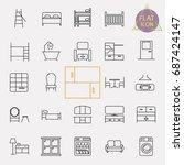 interiors furniture line icon... | Shutterstock .eps vector #687424147