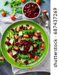 red beans and wild rocket... | Shutterstock . vector #687437269