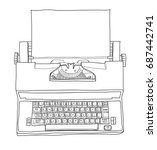 vintage electric typewriter... | Shutterstock .eps vector #687442741