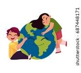 kids  boy and girl  hugging...   Shutterstock .eps vector #687448171