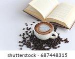 office space on wooden floor ... | Shutterstock . vector #687448315