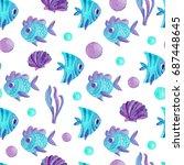 watercolor seamless pattern... | Shutterstock . vector #687448645