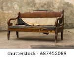 vintage old grungy ripped...   Shutterstock . vector #687452089