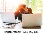 businessman is stressed   Shutterstock . vector #687452131