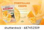 nachos chips ads. vector... | Shutterstock .eps vector #687452509