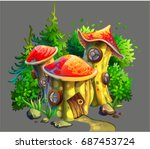 drawing of a mushroom house in ... | Shutterstock .eps vector #687453724