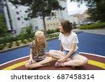 playground. beautiful girls are ... | Shutterstock . vector #687458314